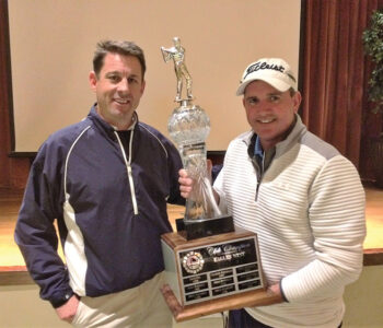 Jason Whitehill (left) presents trophy to 2019 Club Champion Jeff Canfield.